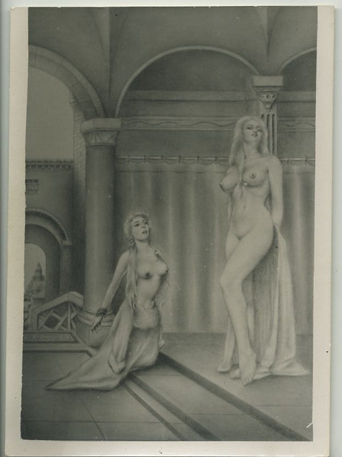Carte Photo Fetish BDSM Bondage d'après gravure ou dessin (vers 1960)