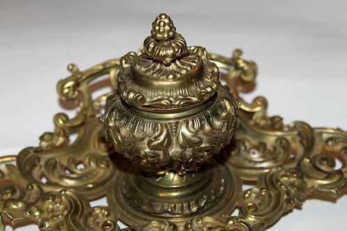 Encrier 1900 style rococo bronze doré