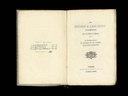 1882. Les Poésies et Chansons Auxerroises. Le Monologue du bon Vigneron. 125 ex.