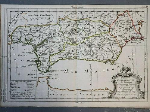 1765 1770 Map Carte géographique Atlas Philippe Prétot Moithey Espagne Murcie