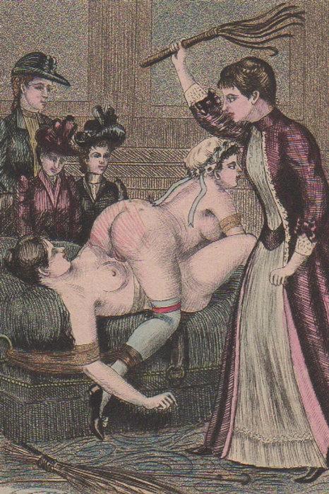 Estampe originale en couleurs (vers 1880). Rehaussée en couleurs. Fouet. BDSM