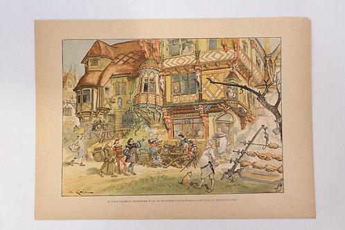 1886 Albert Robida Gravure en couleurs chromotypogravure gillotage Rabelais n°17