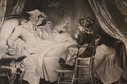 """Lithographie originale 1829 Achille Devéria """"Le matin"""" Romantisme"""