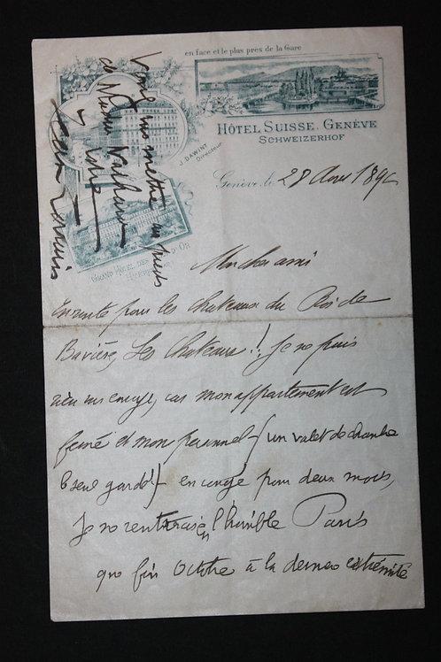 Lettre autographe signée de Jean Lorrain à un ami (1892)