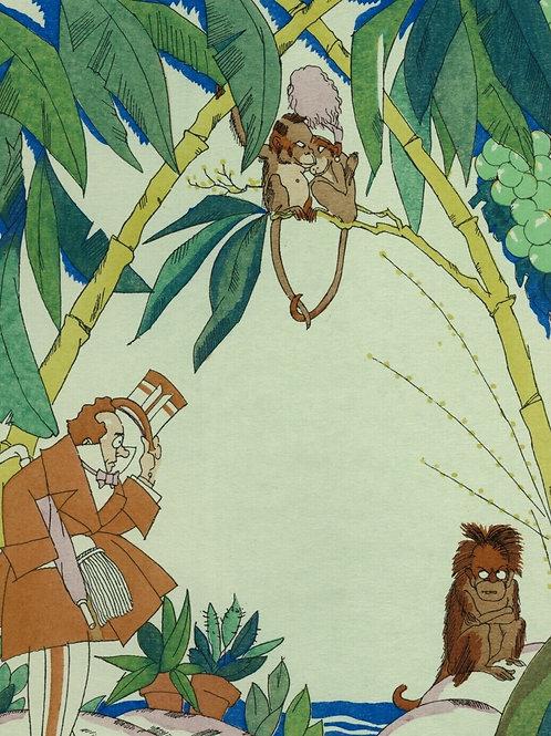 1922 Zyg Brunner Art Deco Estampe aquarellée pochoir humour Temps préhistoriques