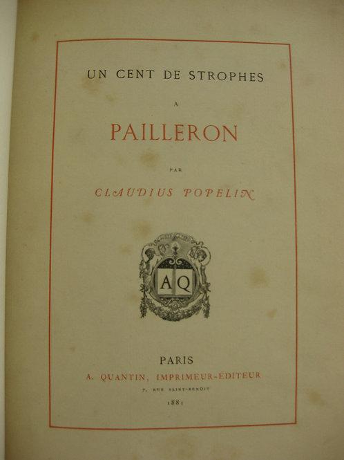 1881 Un cent de strophes à Pailleron Popelin Poèmes