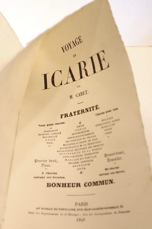 Etienne Cabet. Voyage en Icarie (1848). Utopie sociale et politique.