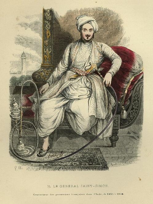 1842 GÉNÉRAL SAINT-SIMON INDE INDIA Français gravure estampe aquarellée époque