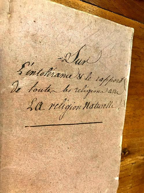 Vus sur l'Intolérance et le rapport essentiel qu'ont toutes les sectes (1788)