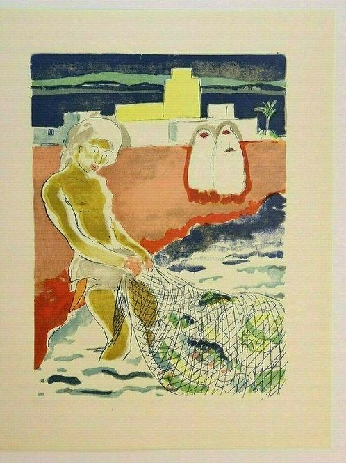 Kees Van Dongen Estampe couleurs 1955 Mille et une nuits Oriental N°7 Pêche