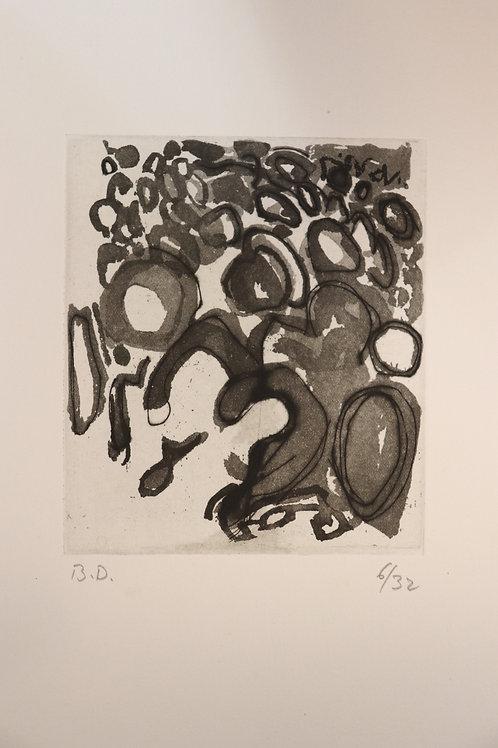 Bertrand Dorny. FOULES (1962). 10 aquatintes. Envoi autographe. Tirage à 32 ex.