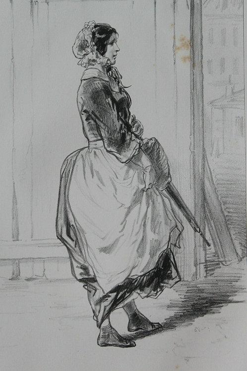GAVARNI Lithographie originale série PHYSIONOMIES PARISIENNES - UNE BONNE