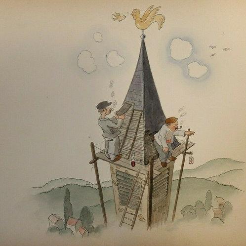 DESSIN ORIGINAL métier couvreur clocher église scène populaire humour AQUARELLE
