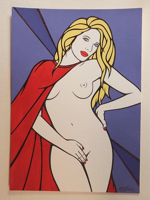 Sophie Dumont. Dessin original sexy 29,5 x 21 cm acrylique et stylo LADY GODIVA