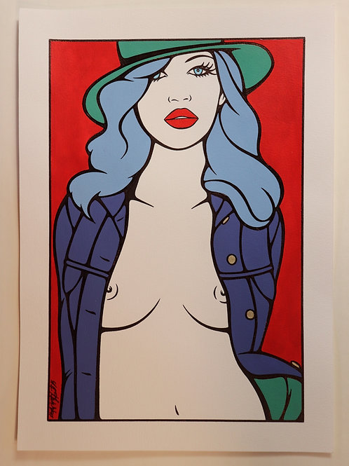 "Sophie Dumont. Dessin original sexy 26,5 x 17 cm acrylique et stylo ""MYLENE"""