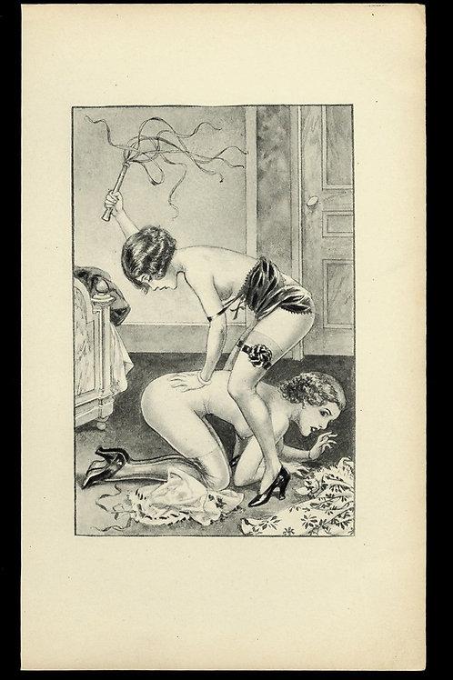 1938 Herrick Chéri Hérouard illustration héliogravure Fouet Fessée