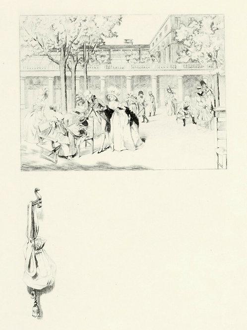 1884 Estampe originale Gaujean Française du siècle pour Uzanne Palais Royal