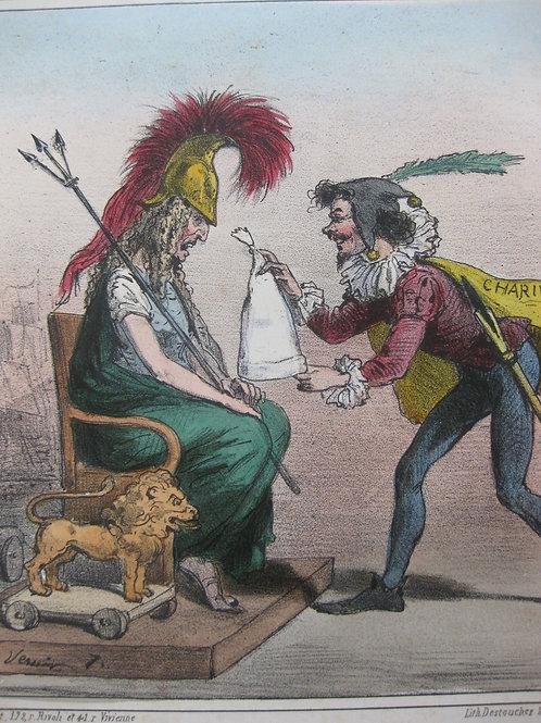 Lithographie originale de Charles Vernier (vers 1860). Série Actualités