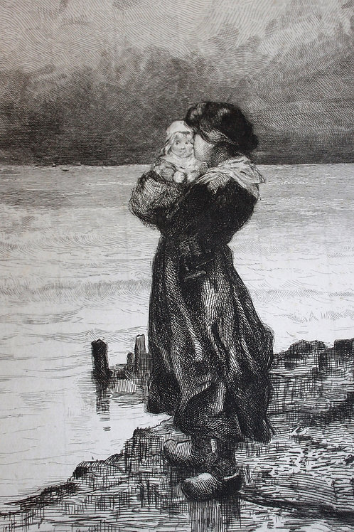 Eau-forte originale signée Ulysse Butin (vers 1878-1880). Mère et son enfant