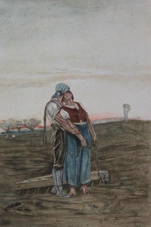 Félicien Rops. L'amour aux champs ou le bout du sillon (1884). Héliogravure