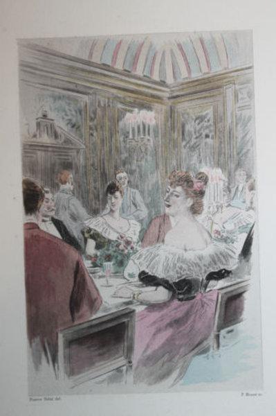 Eau-forte aquarellée Un dîner mondain Pierre Vidal