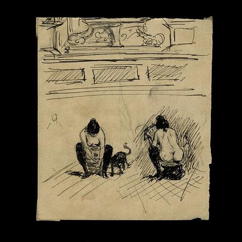 Dessin original libre fin XIXe siècle. Anonyme. Femmes à la toilette intime.