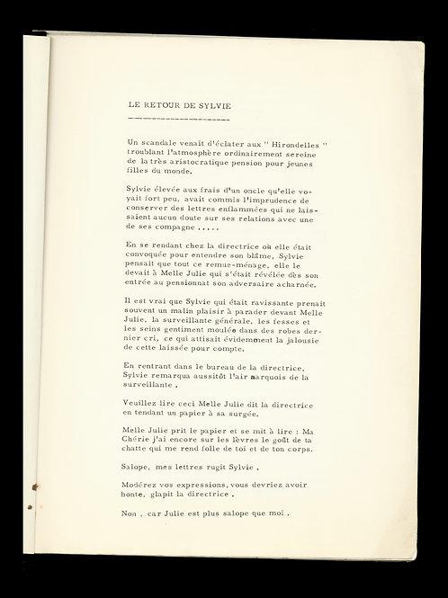 """Anonyme. Tapuscrit original érotique """"Le retour de Sylvie"""" (1950-1960). Unica"""