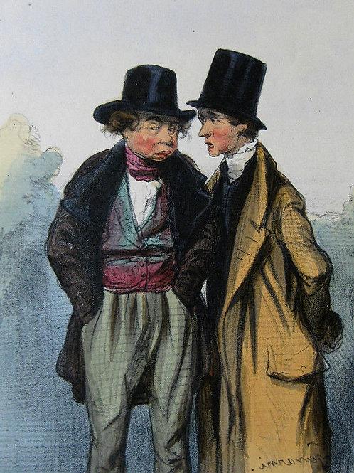 Lithographie originale de Gavarni (vers 1840). Belle épreuve coloriée et gommée.