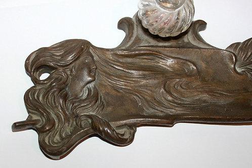 Encrier 1900 Art Nouveau bronze