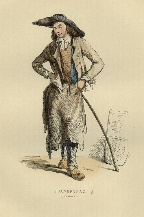 Pointez sur l'image pour zoomer 1842-HOMME-AUVERGNAT-AUVERGNE-THIERS-Francais-g
