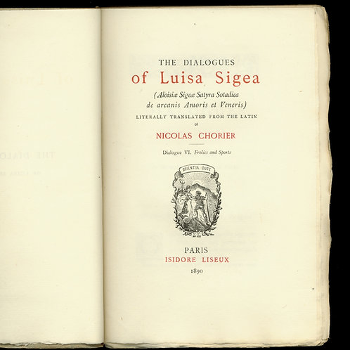 The Dialogues of Luisa Sigea (Chorier). Rare édition anglaise vers 1890