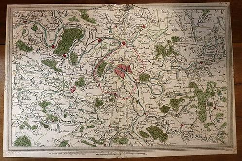 1765 1770 Map Carte géographique Atlas Philippe Prétot Moithey Paris Banlieue