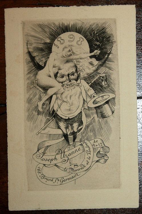 Carte de voeuxpour Joseph Uzanne (1899). Léon Lebègue
