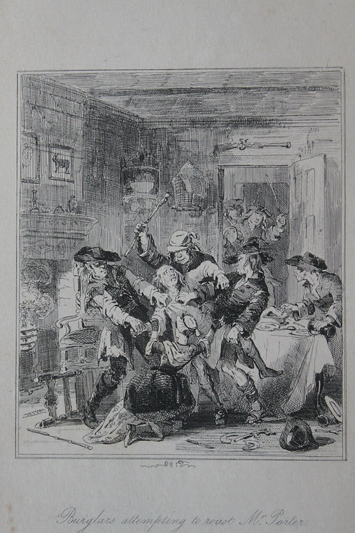 1880 Gravure Phiz Chronicles of crime, Burglars attempting to roast Mr Porter