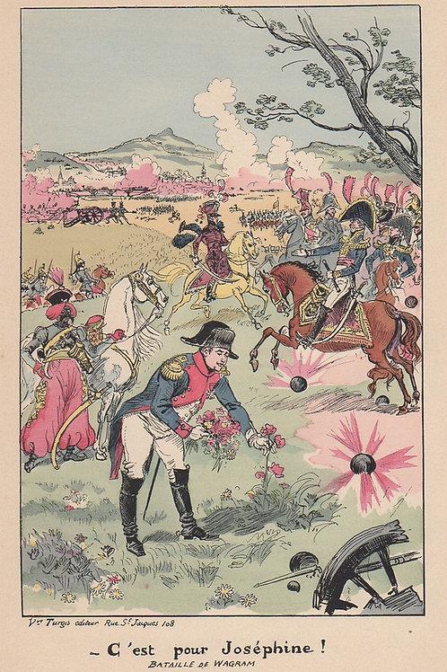 Estampe originale par Albert Robida (1894). Napoléon. C'est pour Joséphine !