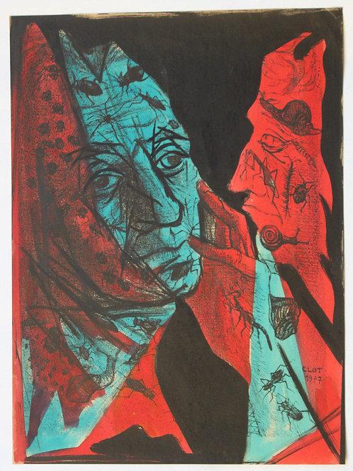 1955 René-Jean CLOT Lithographie originale rehaussée couleur 1/200 Le Souci