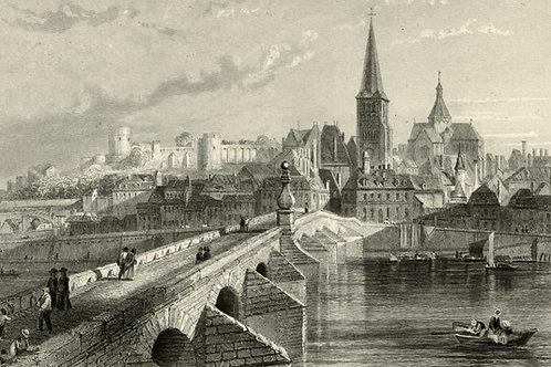 1856 Bords de Loire Gravure sur acier tirée sur chine contrecollé La Charité