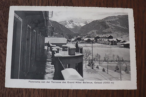 CPA Gstaad sous neige Panorama Terrasse Grand Hôtel Bellevue Hiver Suisse Berne