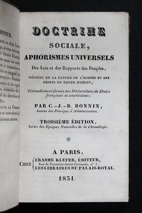 Doctrine Sociale par Bonnin (1831). Aphorismes universels des lois ...