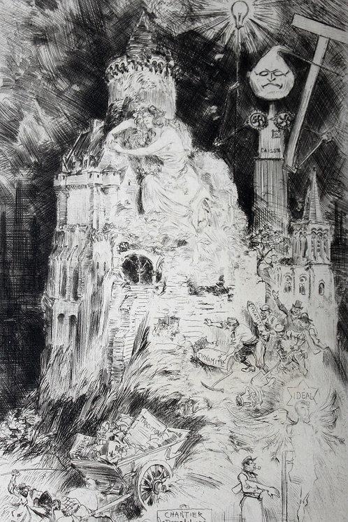 Le Déblaiement de l'Ancien Monde par Albert Robida. Estampe originale (1892)