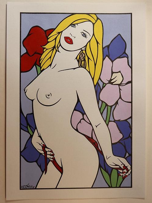 """Sophie Dumont. Dessin original sexy 26,5 x 17 cm acrylique et stylo """"ANDREA"""""""