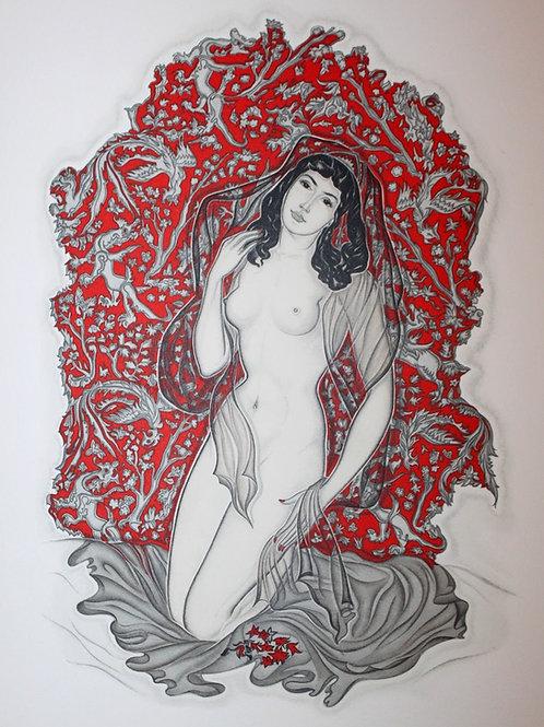 Les Robaïyat d'Omar Khayyâm illustré par Génia Minache (1957). Dessin original
