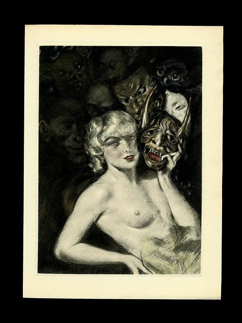 Edouard Chimot Estampe Eau-forte en couleurs vers 1935 Femme diable