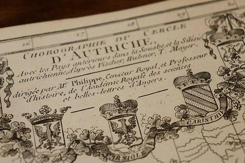 1770 1780 Map Carte géographique Atlas Philippe Prétot Autriche Bohème Tyrol
