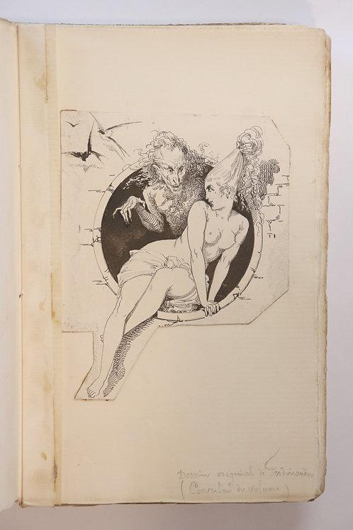 Léon Cladel. Octave Uzanne. L'Amour romantique (1882). Dessin original