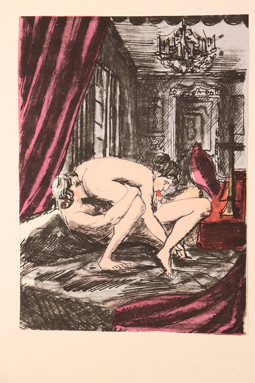 Estampe érotique aquarellée. Marquis de Sade (120 journées). Vers 1935/1940. n°1