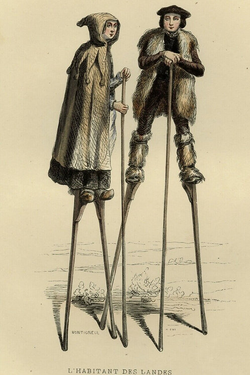 1842 BERGERS DES LANDES Français peints estampe gravure aquarellée époque