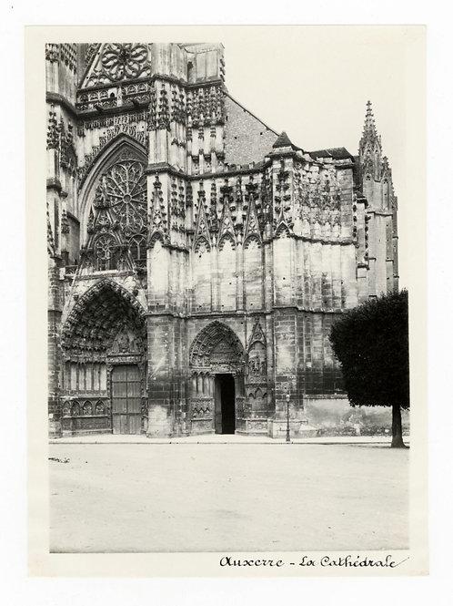 Photographie ancienne vers 1910 Auxerre Yonne Bourgogne cathédrale 1