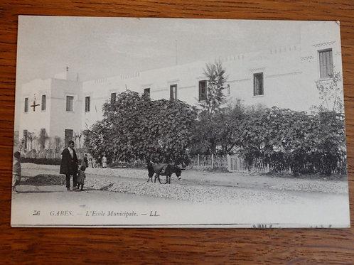CPA Gabès vers 1930 Tunisie Afrique courrier soldat