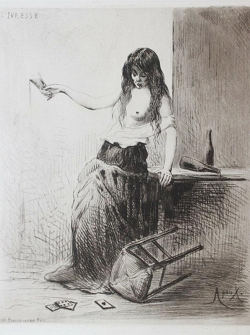 Apoux Superbe estampe eau-forte curiosa ivresse de femme 1890 rare